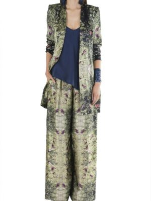 Resort Limited Edition 'Field of Flowers' Matte Silk Satin Collarless Jacket