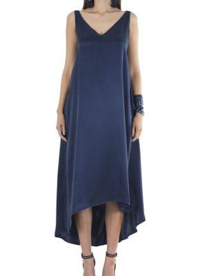 Resort 'Slouch Glamour' Sandwash Silk Asymmetrical Dress – Navy