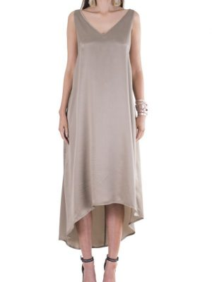 Resort 'Slouch Glamour' Sandwash Silk Asymmetrical Dress – Stone