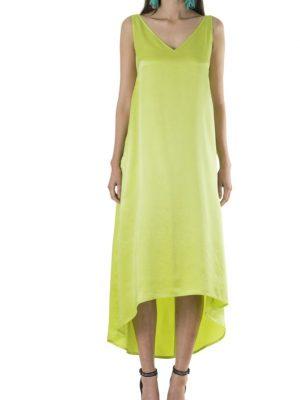 Resort 'Slouch Glamour' Sandwash Silk Asymmetrical Dress – Chartreuse